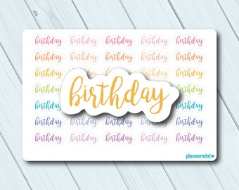 Birthday Planner Stickers - Word Outline - Erin Condren Life Planner - Happy Planner - Birth Day - Party - Payment - Matte or Glossy