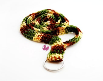 Crochet Retro Woven Lanyard ID Badge Holder, Green Mix Colour, Key Ring, Crochet Lanyard, Gifts For Her, Gifts For Him, Brown