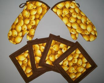 Lemon yellow oven mitt coordinating fruit hot pad - insulated quilted potholder - gold brown - yellow kitchen decor - bridal shower gift