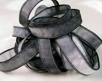 Hand Dyed Silk Ribbon - Hand Painted Jewelry Bracelet Wrap  - Black Grey - Quintessence - Steel