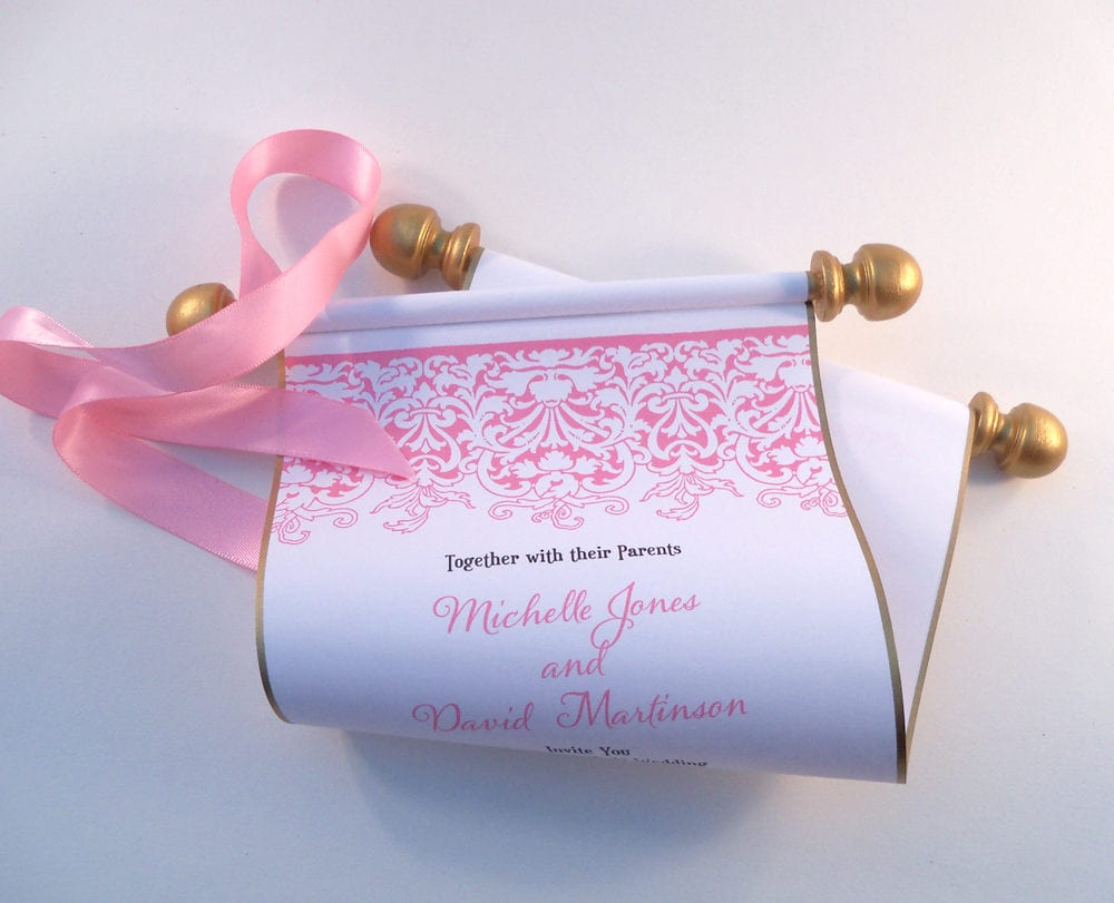 Boho chic wedding invitation scroll in Pink and Gold romantic