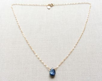 Gold Kyanite Necklace, Kyanite, Tiny Stone Necklace, Small Stone Necklace, Healing Stone Necklace, Tiny Crystal Necklace, Blue Stone, GN32