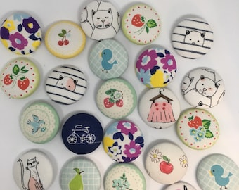NeedleMinder fabric covered button magnet for your needle. Random set of 2