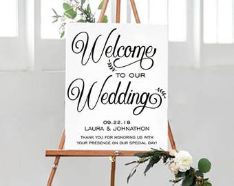 50% off Welcome to our Wedding Sign, Welcome Wedding Sign, Wedding Poster, Printable Wedding Sign, DIY, Template, Wedding Instant Download