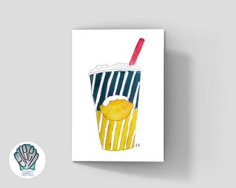 Frozen Lemonade Greeting Card • Printed in Newport, RI • Eco • Summer • Rhode Island • Beach • Ice • Treat •  Watercolor • Vintage • Classic