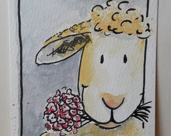 Greeting card sheep with bunch of flowers as a download