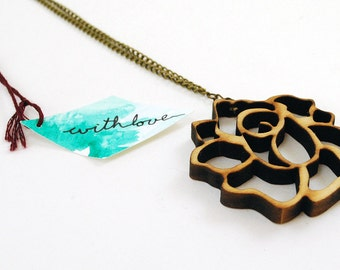 Rosie Wooden Laser Cut Necklace