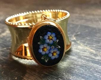 Napkin Ring with Micro Mosaic Flower Locket