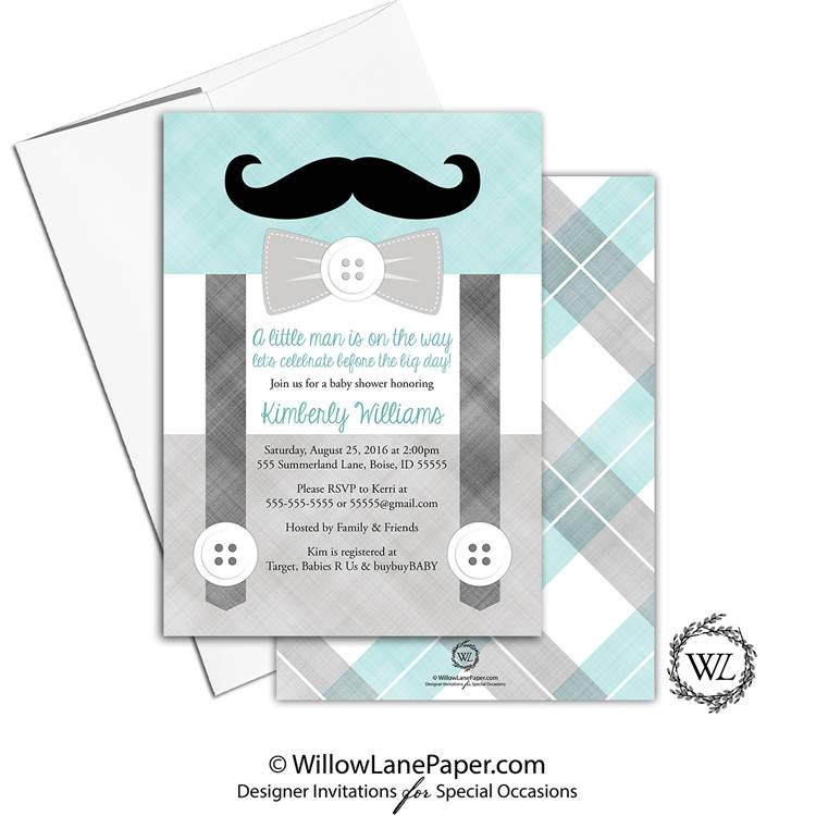Mustache Baby Shower Invitation Boy Seafoam Gray Mint