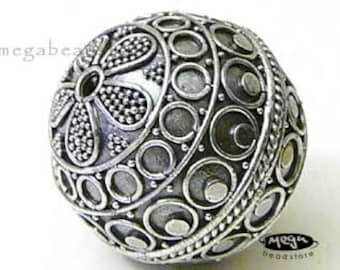 30mm Patina X- Large Round Bead Bali 925 Sterling Silver Pendant B267- 1 pc
