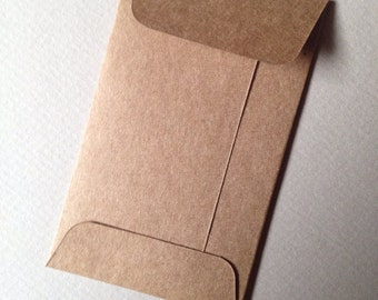 Business envelope etsy 50 kraft mini envelopes size 2 18 x 3 12 business card envelopes favor envelopes coin envelopes heavyweight brown kraft reheart Images