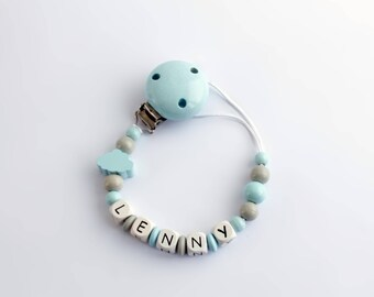 Pacifier Chain made of wooden beads // personalized with your Name of choice