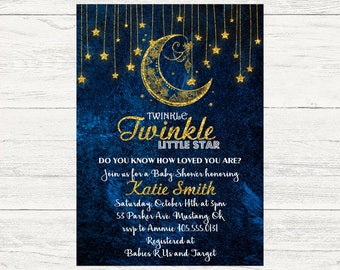 Twinkle Twinkle Little Star Baby Shower Invitation, Baby Boy Invitation, Star Baby Shower Invite