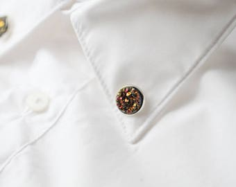 Pink Gold Faux Druzy collar brooch - Faux Raw Crystal collar pin - Metallic Shimmer shirt accessory