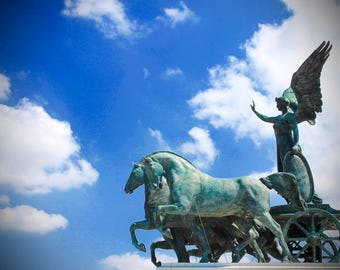 Color photography, clouds, statues, Italy, Rome, Black and White Photography