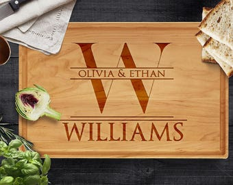 Personalized Cutting Board, Last Name & Name- Engraved Gifts for Parents Wood Cutting Board, Wedding, Christmas Gift, Housewarming