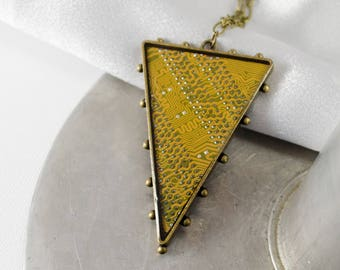 Circuit Board Necklace Yellow, Recycled Computer Circuit Board Jewelry, Triangle Statement Necklace, Engineer Gift, Motherboard Necklace