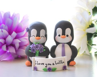 Unique Penguin wedding cake toppers - love birds personalized black white purple elegant cute bride groom figurines wedding gift anniversary