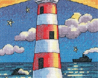 Lighthouse by Night Cross Stitch Kit from Heritage Crafts- By the Sea range, designed by Karen Carter, Cross stitch kit, 14 ct aida,BSLN1389