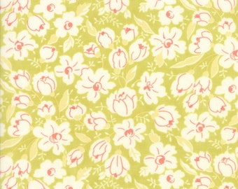 Coney Island Fabric - Green - Fig Tree Fabric - Buttercups - Floral Fabric By The 1/2 Yard