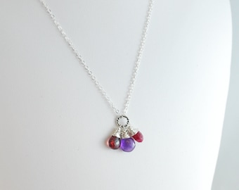 Child's Necklace, Birthstone Jewelry, Genuine Gemstone, Personalized, Sterling Silver - Custom Made for Little Girl
