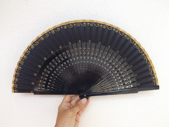 Navy and Gold Fret Ornate Hand Fan