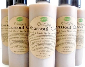 Moroccan Rhassoul Clay Mud Wash/Masque w/ 8 Herbal Extracts, No Poo-Shampoo, Clarifying, 2 in 1 Conditioning  Cleanser 8oz
