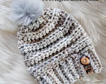 Faux Fur Pom Pom Beanie, Crochet Hat, Ribbed Hat, Winter Fall Fashion Hat, Wool Blend Yarn Snow Ski Snowboard Hiking Hat by AngelsChest