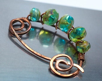 Copper Shawl Pin with Blue Green Czech Glass Beads / Copper Sweater Pin / Handmade Copper Scarf Pin / Blue Green Czech & Copper Fibula