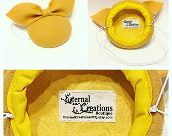Yellow wool felt button hat