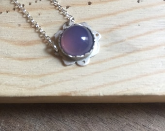 Sterling silver necklace with cornflower blue chalcedony stone, purple blue stone dainty chain necklace, 925 sterling silver necklace
