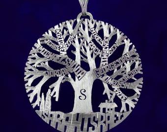 Family tree necklace, family tree of life pendant sterling silver 925, tree of life name necklace, silver tree of life.