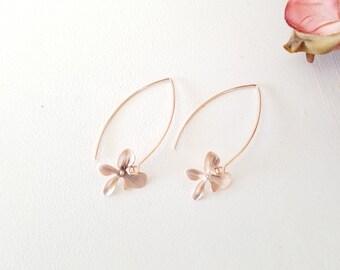 Flower Erarrings, Rose Gold Earrings , Orchid Earrings, Wedding Bridesmaid Bridal Jewelry Bridesmaid Gift