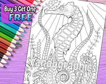 Seahorse - Adult Coloring Book Page - Printable Instant Download