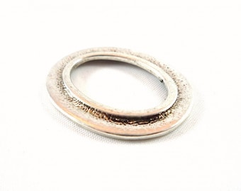 1 large ring oval connector, antique silver, 33X27mm (K15)