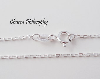 925 Sterling Silver Anchor Chain - 1.1 mm - 16, 18, 20, 22, 24 inches - Finished Chain with Lobster Clasp