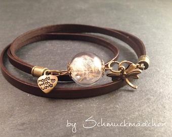 Leather Bracelet Brown flower