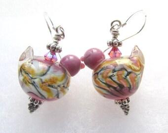 Purple and Yellow Bird Earrings with Handmade Lampwork Glass Beads