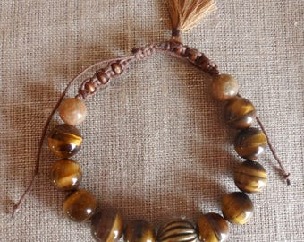 Mens bracelet, Brown, Tiger eye beads