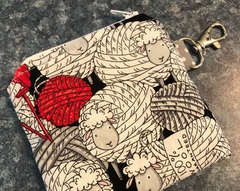 Notions pouch, Mini Notion Bag, Zippered Notion Bag, Small Notion Bag, Stitch Marker Bag