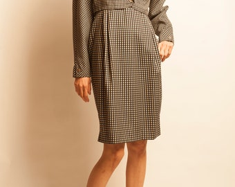 Gianni Versace 1980's checked pattern short jacket and  no sleeves dress ensemble