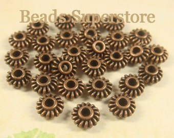 7 mm x 3 mm Antique Copper Spacer Bead - Nickel Free, Lead Free and Cadmium Free - 25 pcs