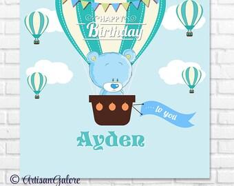 Teddy Baby Shower Backdrop, It's a Boy, Teddy Bear Birthday Backdrop, Teddy Bear Birthday Banner, Teddy Bear Hot Air Balloon digital