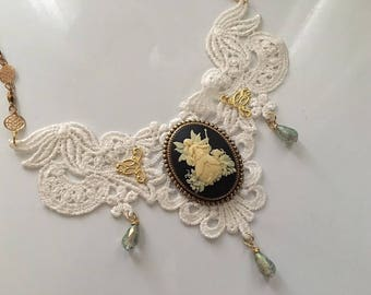 Bib Choker Necklace Steampunk Victorian Fantasy Fairy Cameo and Lace