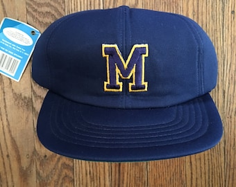 Vintage 90s Deadstock Michigan Wolverines NCAA Snapback Hat Baseball Cap