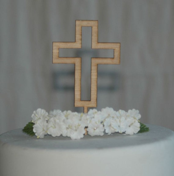 Wooden Cross Cake Topper