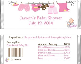 Pink Clothesline Baby Shower Candy Bar Wrappers- Set of 10