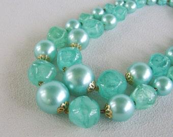 Vintage Aqua Double Bead Strand Necklace Hong Kong