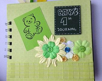 handmade baby first journal, baby keepsake book, handmade scrapbook, baby memory book, baby journal, special keepsake, baby shower gift