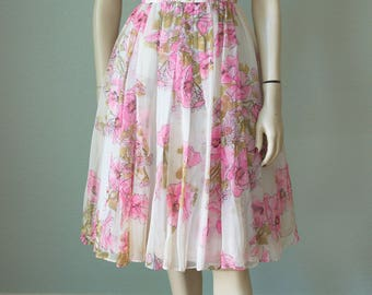 1960s Addie Masters Floral Silk Chiffon Casual Dressy Dress / Pink Roses Scarf Print / Fit and Flare Full Skirt / Small
